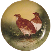 Handsome Limoges Porcelain Game Plate ~ Hand Painted with a Pair of Quail ~ Artist Signed ~ L R & L  Limoges (Lazeyras Rosenfeld & Lehman)