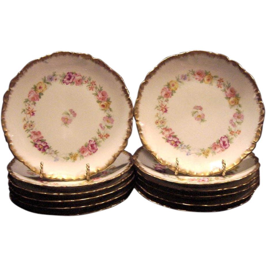 Set of (12) Fantastic 7 1/8'' Limoges Porcelain Plates ~ Hand Painted with Beautifully Colored Flowers ~ Charles J Ahrenfeldt 1894-1930