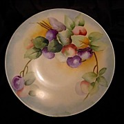 Beautiful Limoges Porcelain Plate Hand Painted with Purple and Green Plums – Jean Pouyat -1890-1932