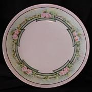 Wonderful Plate ~Art Nouveau ~Limoges Porcelain ~ Hand Painted with Delicate Pink Roses ~ Artist Signed ~ T&V Tressemann & Vogt ~1892 -1907
