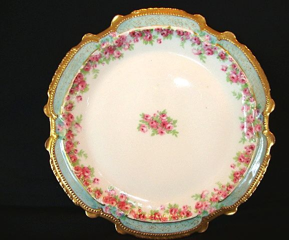 Magnificent Limoges Porcelain Cabinet Plate ~ Hand Painted with Dainty Pink & White Rose ~ Latrille freres  / Coronet 1906 – 1913