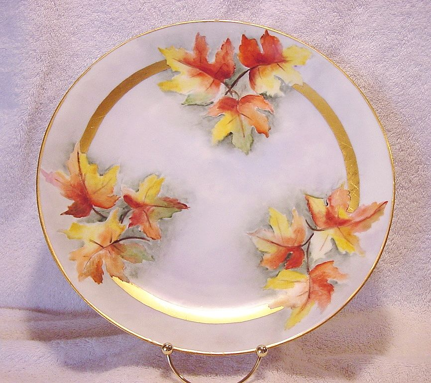 """Wonderful Bavarian Porcelain Charger 12 ¼"""" ~ Hand Painted with Gorgeous Fall Colored Oak Leaves ~ Plankenhammer Porcelain Factory, Bavaria, 1908+"""