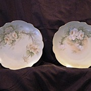 SALE A Beautiful Pair of Limoges Porcelain Plates ~(2) Hand Painted with Yellow White ...
