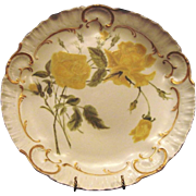 """SALE Exquisite 12 1/2"""" Limoges Porcelain Charger / Cabinet Plate ~ Hand Painted Yellow Ro"""