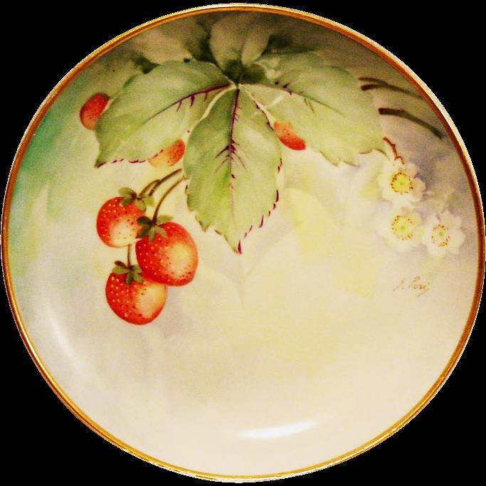 Ginori Italy Cabinet Plate ~ Artist Signed ~ Hand Painted with Delicious Ripe Strawberries ~ (Richard-Ginori) 1920+