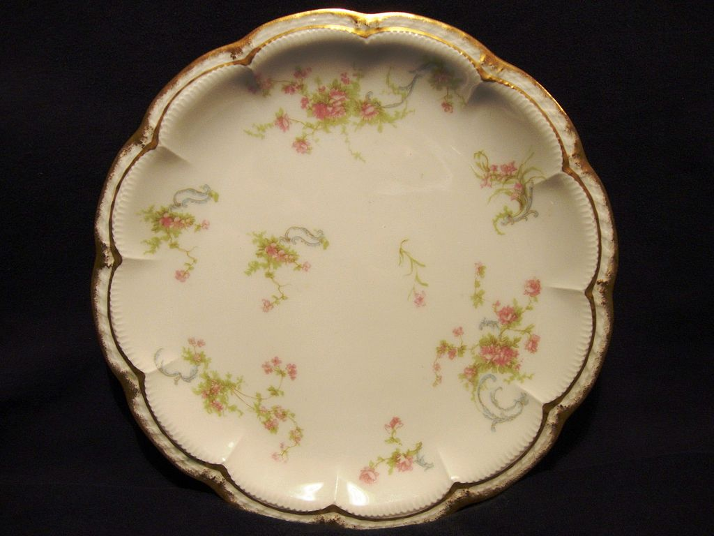 Dainty Limoges Porcelain Cabinet Plate ~ Hand Decorated with Soft Pink Flowers ~ Haviland France 1894-1931