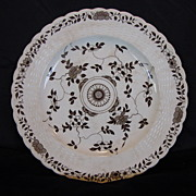 SALE Wonderful Old Minton's Cabinet Plate with Embossed Basket Weave and Brown Floral Transf