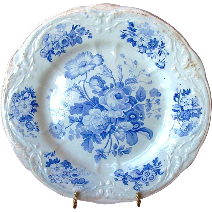 English Blue and White Floral Pottery Cabinet Plate ~ 253+ YEARS OLD ~ John Turner England ~ Ca 1756-1780