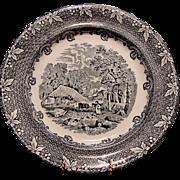 "SALE Fabulous Blue Black Transfer Plate ~ ""Farm"" Pattern ~ George Jones & Sons Staffordshi"
