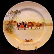 """"""" Hard to Find""""  Royal Doulton's Coaching Days Series Plate~  D2716 Scene #3~ """"Youth holding a front pair of horses"""".  ~ Royal Doulton England 1906"""