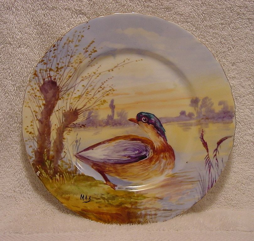 """Gorgeous Limoges Porcelain Game Plate Hand Painted with Water Fowl By Artist """"MAX"""" ~ Elite Limoges France 1900"""