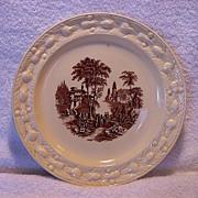 Wonderful Staffordshire Cabinet Plate ~ Brown Scenic Transfer ~ Adam Titan Ware~ GRIMWADES BROS. (ROYAL WINTON) (Staffordshire, UK) - ca 1930s - 1950s