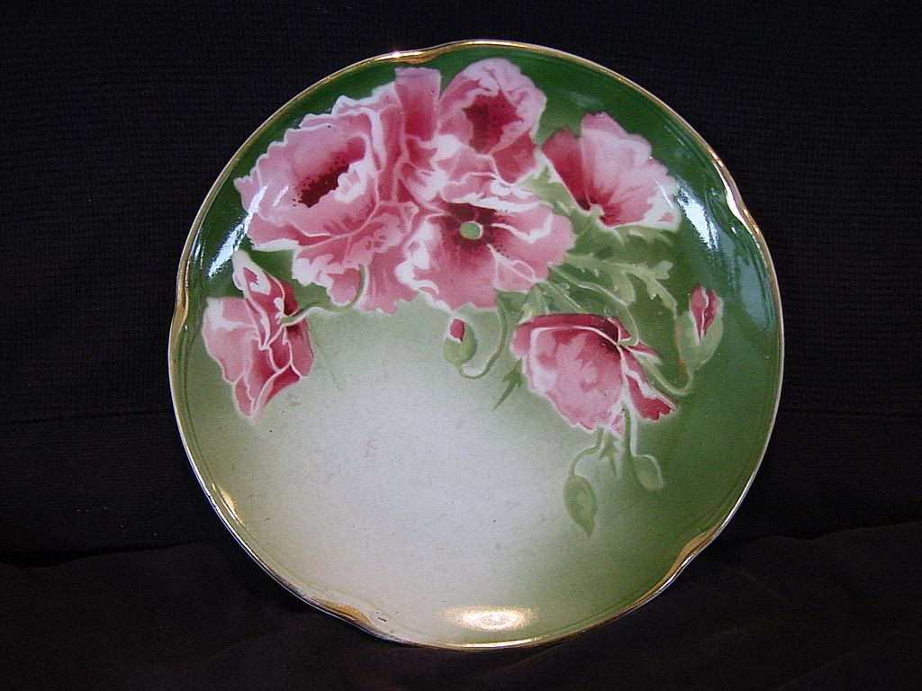 Colorful French Majolica Faience Plate With Pink & Red Poppies ~ Keller & Guerin, France 1890-1930