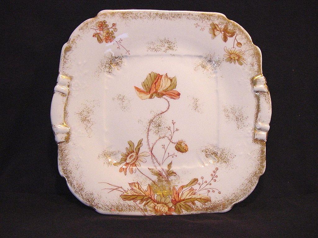 Wonderful Austrian Porcelain Ice Cream / Sandwich Plate Decorated with Poppies ~  P.H. LEONARD Austria 1917