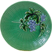 Bright & Beautiful German Majolica Grape Plate ~ ZELL United Ceramic Factories - GEORG SCHMIDER (Germany) - ca 1907 +
