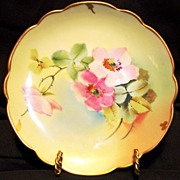 "SALE Awesome Porcelain Plate Hand Painted with Wild Pink Roses by Pickard Studio Artist ""O ."