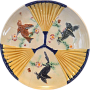 """REMARKABLE English Majolica 9"""" Plate ~ Birds & Fans ~ Wedgwood England 1800's"""