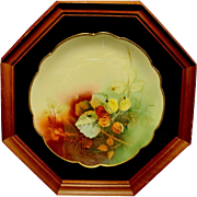 "Amazing Bavarian Porcelain Plate in 8 sided 13"" Shadowbox ~Hand Painted with the Autumn Currants Pattern ~ Pickard Studios Chicago IL / Rosenthal Bavaria 1898-1905"