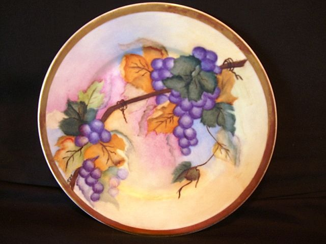 """Handsome Limoges Porcelain """"Vellum"""" Cabinet Plate / Charger ~ Hand Painted with Purple Grapes ~ Artist Initialed~ Haviland & Co 1888-1896"""
