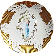 Exquisite English Soft Porcelain Cabinet Plate ~ Hand Painted with a Beautiful Woman ~ England 1900's