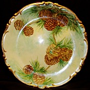"Amazing Bavarian Porcelain 12 ½ "" Charger ~ Hand Painted with Pine Cone Motif ~ Artist Signed ~ Heinrich & Co 1930+"