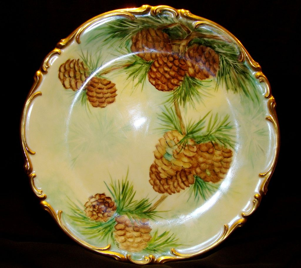 """Amazing Bavarian Porcelain 12 ½ """" Charger ~ Hand Painted with Pine Cone Motif ~ Artist Signed ~ Heinrich & Co 1930+"""