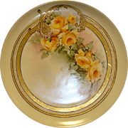 SALE Exceptional Limoges Porcelain Cabinet Plate ~ Hand Painted with Gold and Yellow Roses ~ H