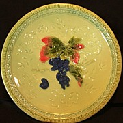 "SALE Wonderful 12"" German Majolica Plate Hand Painted with Deep Purple Grape Motif ~ ZELL Un"