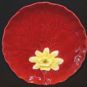 "SALE Colorful German Majolica Red ""Water Lily"" Cabinet Plate ~ ZELL United Ceramic F"