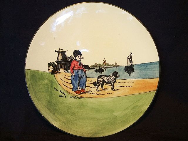 Attractive German Plate With Dutch Scene of a Man and Dog ~ ZELL United Ceramic Factories - Georg Schmider (Germany) - ca 1907 – 1928