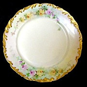 SALE Gold Trimmed Rococo Limoges Porcelain Plate Hand Painted with Soft Yellow and Pink Roses
