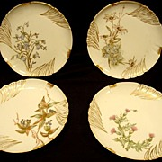 SALE Set of 4 Limoges Porcelain Cabinet Plates ~ Hand Painted with Flowers & Berries ~ ...