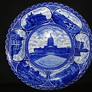 Flow Blue Earthenware Souvenir Plate of Topeka Kansas ~ ROWLAND & MARSELLUS  Staffordshire England 1893-1938