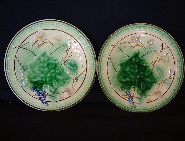 (2) Wonderful Majolica Plates with Leaf and Fern Design.