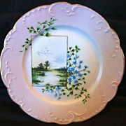 Awesome Limoges Porcelain Cabinet Plate ~ Hand Painted with Blue Flowers and Marshland Scene ~ Haviland & Co France ~ 1886-1896