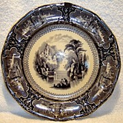 "Beautiful 160 YR Old Black Mulberry English Transferware Plate 10 5/8"" ~SUSA Pattern ~Charles Meigh, Sun & Pankhurst Hanley Staffordshire England 1850-51"