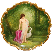 "Exquisite 13 1/4"" Limoges Porcelain Plaque / Charger ~ Hand Painted with Nude Leda and the Swan ~ Museum Quality  ~ Artist Signed ~ Lazeyras, Rosenfeld & Lehman (LRL) Limoges France ca 1920's"
