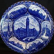 "Fantastic Staffordshire Rolled Edge Souvenir Plate ~ ""Souvenir of Toronto City Hall~ Cobalt Blue / Flow Blue ~ ROWLAND & MARSELLUS Staffordshire England 1893-1938"