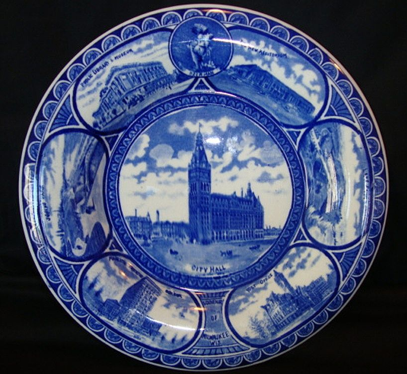 "Fantastic Staffordshire Rolled Edge Souvenir Plate ~ ""Souvenir of Milwaukee Wis ~ City Hall"" ~ Cobalt Blue / Flow Blue ~ Ridgway Staffordshire England 1910-1920"