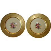 SALE TWO (2) PICKARD Porcelain 10 5/8'' Gold Embossed Cabinet Plates with Floral Design ~ PICK