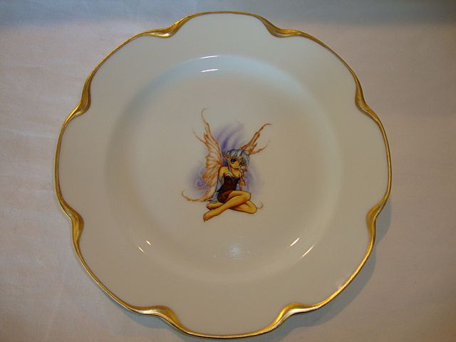 UNIQUE Limoges Porcelain Cabinet Plate ~ Pixie or Fairy transfer ~ Haviland France 1894-1931