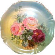 """SALE Magnificent 14"""" Limoges Porcelain Charger ~ Hand Painted with Pink & Magenta Roses ~ .."""