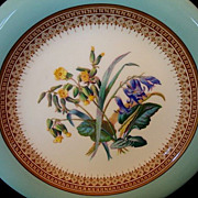 Gorgeous 159 Yr Old English Porcelain Plate with Robin Egg Blue Rim and Royal Blue and Yellow Flowers ~ W.T. COPELAND & SONS Ltd [COPELAND - SPODE]  (Staffordshire, UK) - ca 1851 - 1855