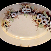 SALE Enormous 20'' Limoges Porcelain Center Piece Platter ~ Hand Painted with White and Yellow
