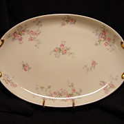 SALE Beautiful Limoges Porcelain 14 1/2'' Two Handled Platter / Tray ~ Pink & Lavender Flowers