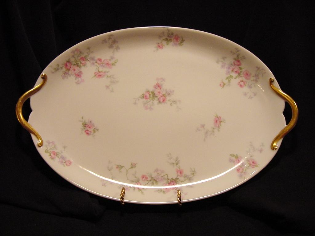 Beautiful Limoges Porcelain 14 1/2'' Two Handled Platter / Tray ~ Pink & Lavender Flowers ~ GDA ~ Gerard Dufraisseix & Abbot Limoges 1900-1941