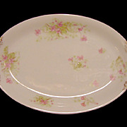 SALE French Porcelain Small Platter / Tray ~ Factory Decorated with Pink Wispy Flowers ~ ALFRE