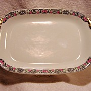 SALE Wonderful Limoges Porcelain Ice Cream Platter / Tray ~ Factory Decorated with Pink Roses