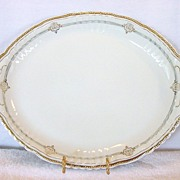 Amazing Austrian Porcelain Platter With Blue and Gold Decorations ~ Victoria Austria ~ 1904-1918