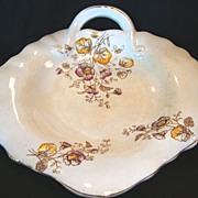 Wonderful Old Ironstone, Handled, Leaf Shape Platter / Tray ~ Flower Transfers ~ Akron China Co 1894-1908
